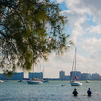 SARASOTA, FL -- October 2012 -- Fisherman take to the waters in view of downtown Sarasota off Ken Thompson Park on City Island in Sarasota, Florida.  (PHOTO / CHIP LITHERLAND)