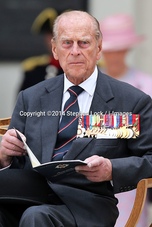 Image licensed to i-Images Picture Agency. 28/06/2014. London, United Kingdom. The Duke of Edinburgh   at the Solemn Drumhead Service at the Royal Hospital Chelsea, London. The service was to commemorate those who volunteered to serve in the First World War on the Centenary of the assassination of Archduke Franz Ferdinand.  Picture by Stephen Lock / i-Images