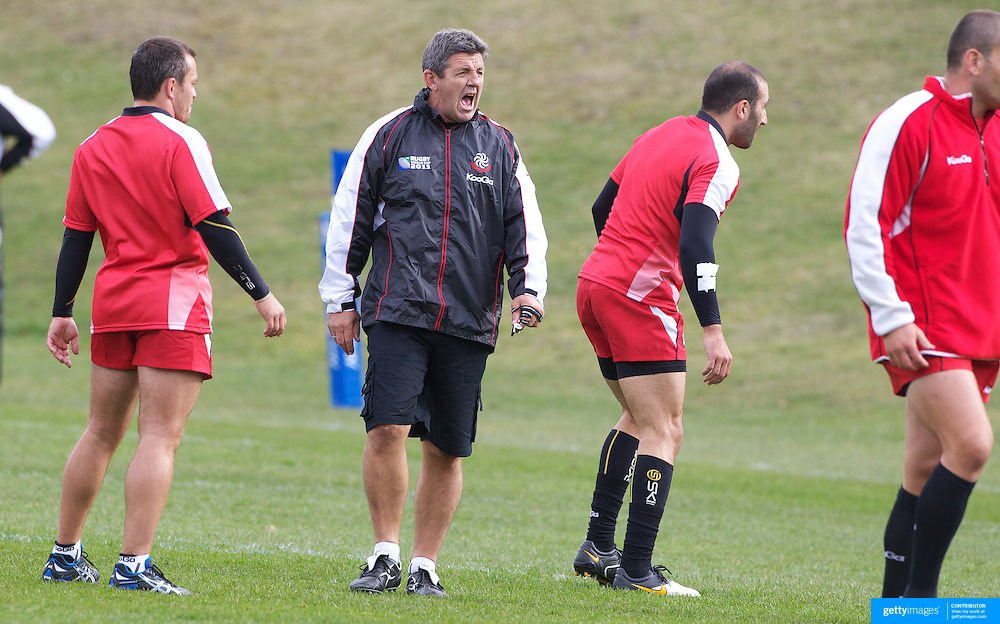 John Muggleton  the Georgia Rugby teams defensive coach, training the Georgian team at Recreation Park, Queenstown, in preparation for the IRB Rugby World Cup.  Queenstown, New Zealand, 9th September 2011. Photo Tim Clayton.....