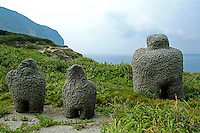 "Niijima Moai Though they are called ""moai"" these artifacts are more like outdoor sculptures, dotted along the coastline of Niijima."