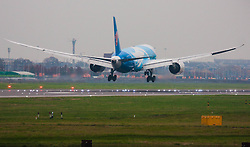London Heathrow Airport, November 16th 2014. A China Southern Boeing 787-800 lands on Heathrow Airport's runway 09L.