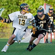 May 17th 2008<br /> Durham NC<br /> The Chapel Hill Tigers and the Apex Cougars exchanged the lead in this game of the big cats for two quarters, but the Tigers finally put some air between themselves and Apex in the third period and held the lead, coming away with a 12-8 win and another state championship.