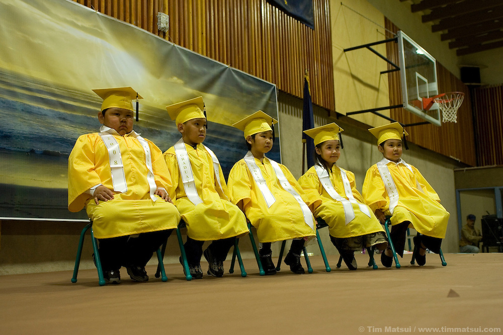 May 2, 2008 -- Kivalina, AK, U.S.A..Kindergarten graduation ceremony in the native village of Kivalina, Alaska. Kivalina is suing 20 oil companies for property damage related to global warming; the ocean pack ice forms later and melts earlier, leaving the town vulnerable to erosive winter storms and endangering their traditional subsistence lifestyle. (Photo by Tim Matsui)