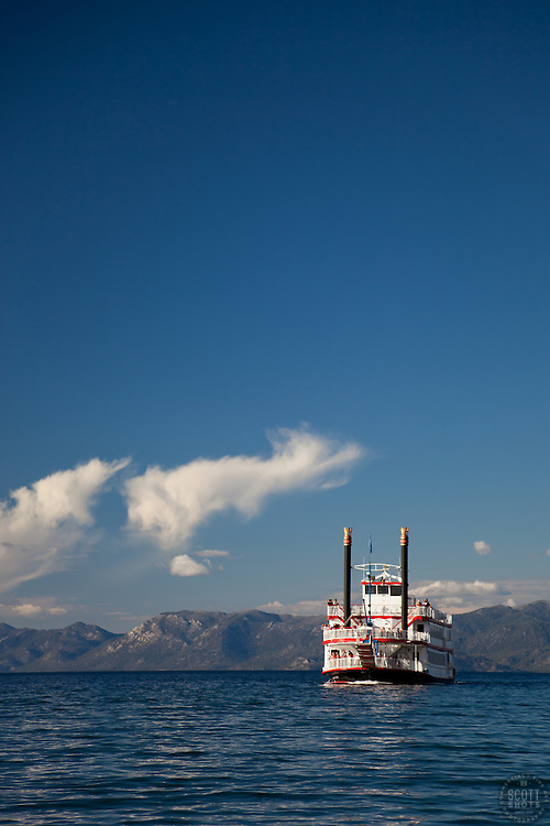 """M.S. Dixie II on Lake Tahoe 2"" - This famous paddlewheel boat was photographed entering Emerald Bay, Lake Tahoe."