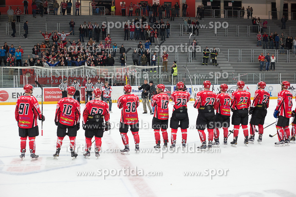 Players of Jesenice greet fans after ice hockey match between HDD SIJ Acroni Jesenice and HDD Olimpija Ljubljana in Super Cup 2016, on October 11, 2016 in Podmezaklja, Slovenia. Photo by Gregor Podrekar/ Sportida