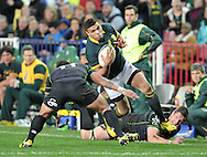 CAPE TOWN, SOUTH AFRICA - Saturday 11 July 2015, Bryan Habana of South Africa and David Smith of the WorldXV during the rugby test match between South Africa (Springboks) and the Word XV at Newlands Rugby stadium.<br /> Photo by Luigi Bennett / ImageSA