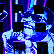 The likeness of a young Stevie Wonder projected onto the side of a building adjoining Wonder's stage on the opeing night of the Montreal Jazz in Montreal, Canada on 30 June 2009.