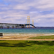 &quot;Viewing Mackinac Bridge&quot;<br /> <br /> What a gorgeous day on the straits of Mackinac to just sit and gaze upon the beautiful Mackinac Bridge and blue waters!!<br /> <br /> Mackinac Bridge by Rachel Cohen