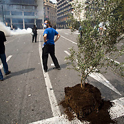 A olive tree is seen up rooted on the road below Palrliament House in Athens, Greece.  The MPs in parliament prepare to debate new austerity measures required for the EU and IMF bail-out package.  Athens turned into a war zone with many arrests and tear gas thrown by the police.  Image © Angelos Giotopoulos/Falcon Photo Agency