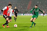 ROTTERDAM - Feyenoord - FC Groningen , Voetbal , Eredivisie , Seizoen 2016/2017 , Feijenoord stadion de Kuip , 11-02-2017 ,  eindstand 2-0 , FC Groningen speler Mimoun Mahi (r) in duel met Feyenoord speler Eric Botteghin (l)