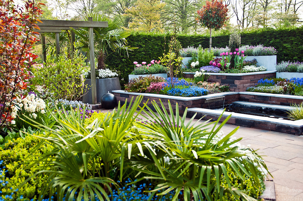 Garden design exhibition at Keukenhof Spring Tulip Garden in Lisse, The Netherlands