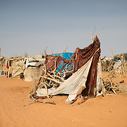 A structure used to store animal fodder at the Mbera refugee camp in southeastern Mauritania on 1 March 2013.