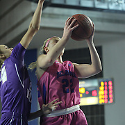 Delaware Guard Lauren Carra (22) drives to the basketball in the first half of a regular season NCAA basketball game against James Madison Sunday, Feb 24, 2013 at the Bob Carpenter Center in Newark Delaware..