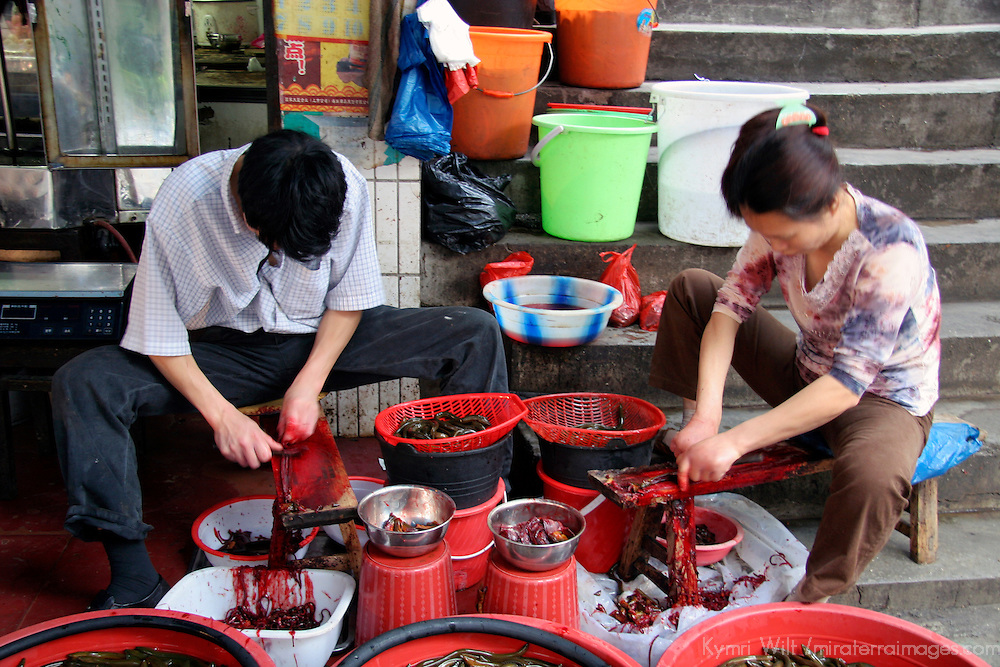 Asia, China, Chongqing. Locals skin and prep eels in street market in the city of Chongqing.