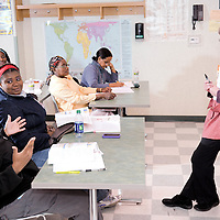 An adult education class serves many immigrants at the Mother Caroline Academy in Dorchester, MA.