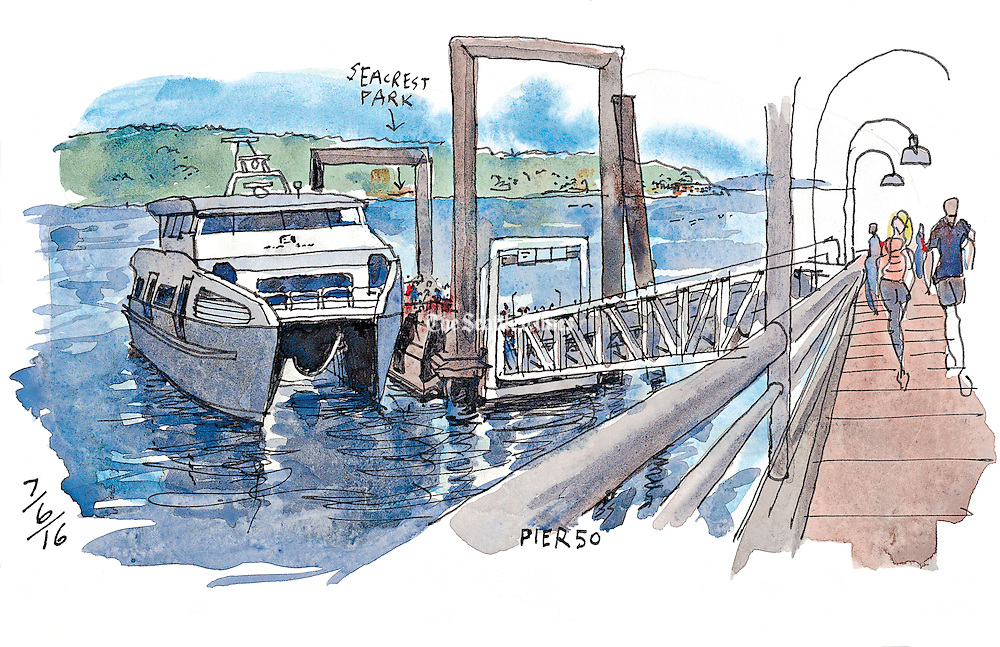 Embarking for West Seattle on the King County Water Taxi. (Gabriel Campanario / The Seattle Times)