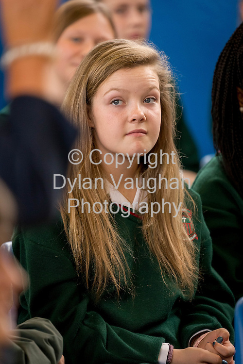 25-8-15<br /> <br /> 1st year student Laura Kehoe aged 12 from Carlow pictured at the Welcome address for first years at Leo's College in Carlow.<br /> <br /> Picture Dylan Vaughan
