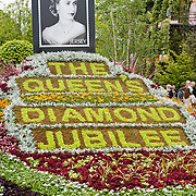 LONDON, UK - 21 May 2012: The Queen's Diamond Jubilee floral composition at the RHS Chelsea Flower Show 2012.