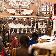 Masks and wood carvings for sale at the 22nd Salon International de l'Artisanat de Ouagadougou (SIAO) in Ouagadougou, Burkina Faso on Saturday November 1, 2008.