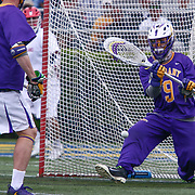 Albany Goalkeeper JD COLARUSSO (9) blocks the ball during the second half of a 2017 NCAA Division I Men's Lacrosse Quarterfinals game between #1 Maryland and #8 Albany Sunday, May. 21, 2017 at Delaware Stadium in Newark, Delaware.