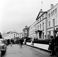 The Beatles 1967 Fans and the bus on a grey day at start of Magical Mystery Tour at Teignmouth in Devon....