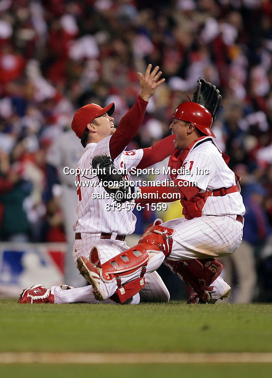 October 29, 2008 - Philadelphia, Pennsylvania, USA - Celebration in the 9th inning. The Philadelphia Phillies and the Tampa Bay Rays resumed game five of the World Series at Citizens Bank Park on Wednesday after the rain delay