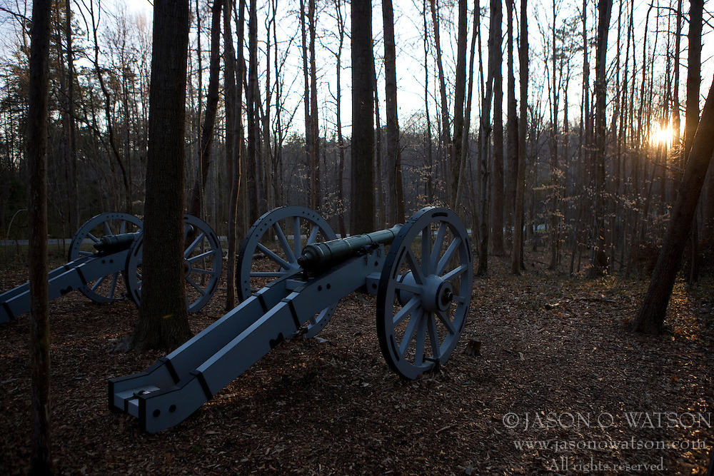 Revolutionary War artillery cannons sit in the woods of Guilford Courthouse National Military Park, north of Greensboro, North Carolina, March 8, 2008.