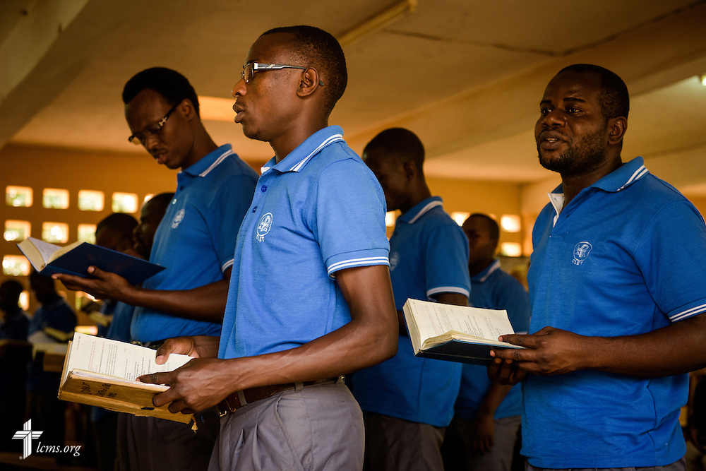 Students sing during Vespers at the Lutheran Center for Theological Studies (CLET) on Wednesday, Feb. 15, 2017, in Dapaong, Togo. LCMS Communications/Erik M. Lunsford