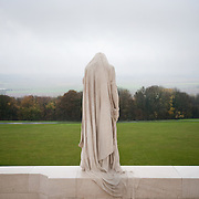 "The weeping woman or better known as ""Mother Canada mourning her dead"" overlooks the Douai Plains at the ‪Canadian National Vimy Memorial‬ dedicated to the memory of Canadian Expeditionary Force members killed in World War one. The monument is situated at a 100 hectare preserved battlefield with wartime tunnels, trenches, craters and unexploded munitions. The memorial designed by Walter Seymour Allward opened in 1936."