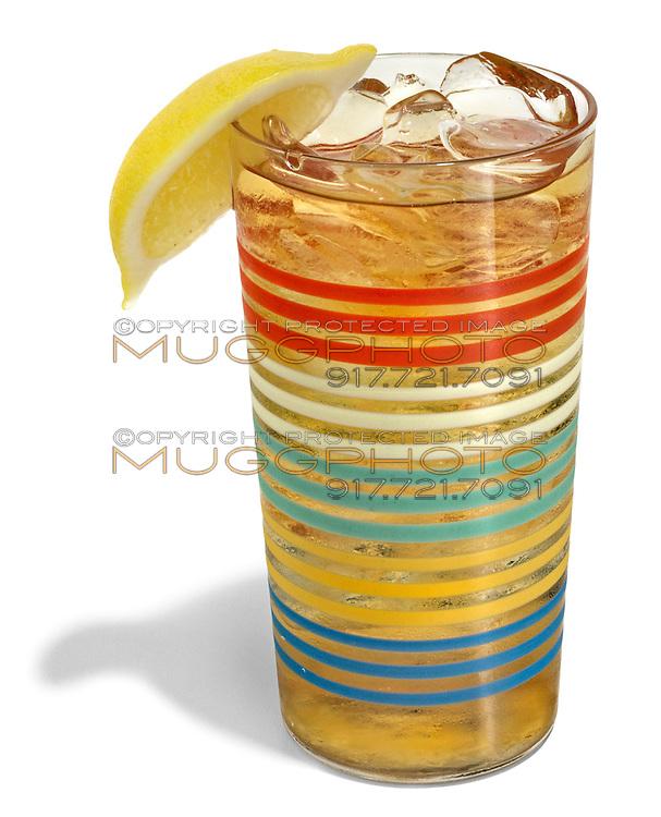 lemon iced tea in a rainbow striped glass