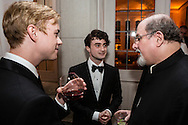 Actors Dane DeHaan, left, and Daniel Radcliffe, center, talk with author Salman Rushdie at the Bloomberg Vanity Fair White House Correspondents' Association dinner afterparty at the residence of the French Ambassador on Saturday, April 28, 2012 in Washington, DC. Brendan Hoffman for the New York Times