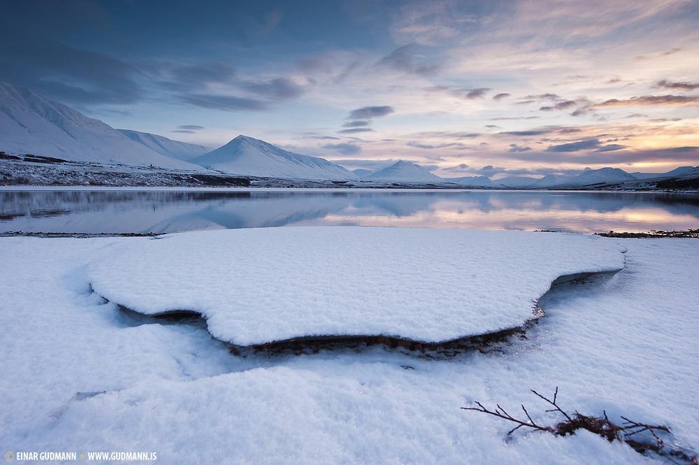 Sunset at Eyjafjardara, river - north-Iceland.
