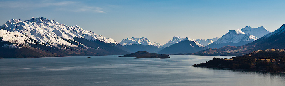 Lake Wakatipu panoramic, in between Queenstown and Glenorchy, New Zealand
