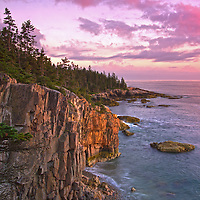 Scenic Coastal Maine seascape photography at sunset featuring a spectacular view across the beautiful cliffs at Raven&rsquo;s Nest along the Acadia National Park coastal shoreline of Schoodic Peninsula. This coastal spot is secretly tucked away in the much less crowded portion of the national park. The area is dramatic and unmarked an unpromoted by the park for obviously reasons. I finally made a return journey to the only area of the national park that is located on main land. With tripod and camera positioned at the edge of the steep Ravens Nest cliffs in front of me and one wrong step away from going down into the ocean I captured Sunset at Raven&rsquo;s Nest.<br /> <br /> Acadia NP is a National Park located in the U.S. state of Maine. It reserves much of Mount Desert Island, and associated smaller islands, off the Atlantic coast. The park is one of the most visited wildlife areas in the United States and a paradise for every photographer and outdoor enthusiast. The park loop road provides easy access to many of the iconic photography subjects, such as Schoodic Peninsula, Monument Cove, Sand Beach, Jordan Pond and the Bubbles, Otter Cliff to name only a few. <br /> <br /> Maine Acadia National Park coastal photography images are available as museum quality photography prints, canvas prints, acrylic prints or metal prints. Prints may be framed and matted to the individual liking and room decor needs:<br /> <br /> http://fineartamerica.com/featured/sunset-at-ravens-nest-juergen-roth.html<br /> <br /> Good light and happy photo making!<br /> <br /> My best,<br /> <br /> Juergen<br /> Licensing: http://www.rothgalleries.com<br /> Photo Prints: http://fineartamerica.com/profiles/juergen-roth.html<br /> Photo Blog: http://whereintheworldisjuergen.blogspot.com<br /> Instagram: https://www.instagram.com/rothgalleries<br /> Twitter: https://twitter.com/naturefineart<br /> Facebook: https://www.facebook.com/naturefineart