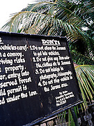"""Warning sign of """"Dont's"""" to observe while driving in the Jawara reserve"""