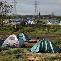 Homeless at the tent city in Sacramento, CA