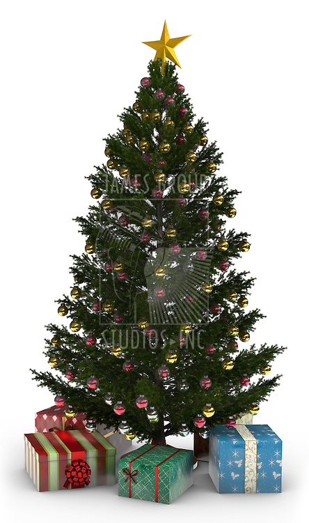 A Christmas Tree with presents isolated on white.