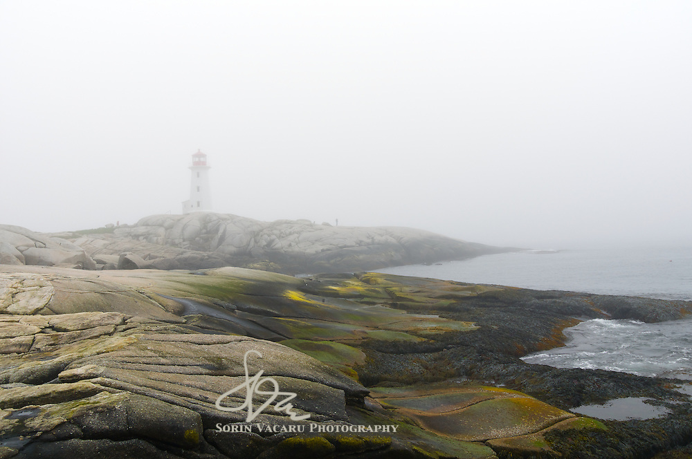 Peggys Cove Lighthouse in Dense Fog