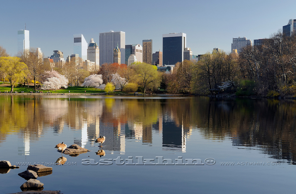 Reflection of Manhattan in Central Park New York City