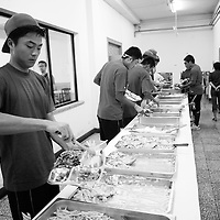 BEIJING, JULY -18: basketball players at the buffet during the daily lunch break, Beijing, July 18, 2007.