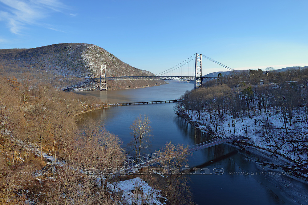 The Bear Mountain Bridge and two smaller bridges on Hudson River.
