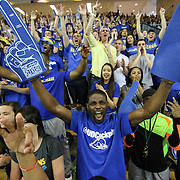 Delaware fan cheering enthusiastically in the second half of a NCAA regular season Colonial Athletic Association conference game between Delaware and Drexel Sunday, Feb 23, 2014 at The Bob Carpenter Sports Convocation Center in Newark Delaware.