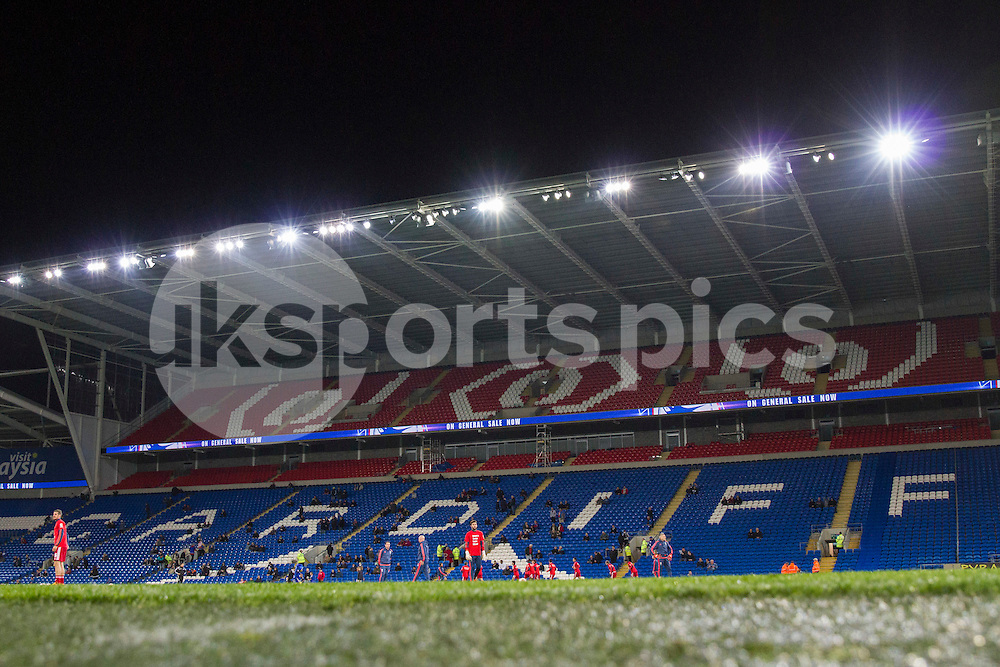 General view inside Cardiff City Stadium as Middlesbrough warm up ahead of the Sky Bet Championship match between Cardiff City and Middlesbrough, Cardiff, Wales on 20 October 2015. Photo by Mark Hawkins.