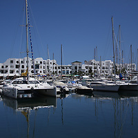 Boats, pleasure and working fishing boats, at the marina at El Kantouai, Tunisia