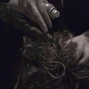 10/23/11 Philadelphia PA: Guest hairstylist Nadine from RICHARD NICHOLAS studios in Philadelphia working during TEASE exhibition Sunday, Oct. 23, 2011 at National Mechanics in Philadelphia Pennsylvania.<br /> <br /> Monsterphoto/SAQUAN STIMPSON