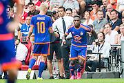 EINDHOVEN - PSV - Feyenoord , Voetbal , Seizoen 2015/2016 , Eredivisie , Philips Stadion , 30-08-2015 , Speler van Feyenoord Eljero Elia (r) komt in het veld en maakt zijn debuut bij Feyenoord , hij komt in het veld voor Lex Immers (l)