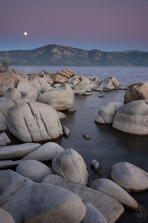 """""""Full Moon Over Lake Tahoe 12"""" -These boulders, full moon, and alpenglow sunset were photographed at Crystal Point in Crystal Bay, Lake Tahoe."""