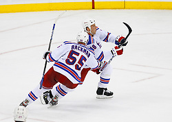 April 9, 2008; Newark, NJ, USA;  New York Rangers left wing Sean Avery (16) and New York Rangers defenseman Christian Backman (55) celebrate Avery's goal during the third period of game 1 of the Eastern Conference Quarterfinal playoffs at the Prudential Center in Newark, NJ.  The Rangers defeated the Devils 4-1 to take a 1-0 lead in the best of 7 series.