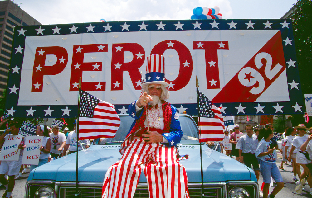 Supporters of Texas billionaire businessman  Ross Perot and the Reform Party staged rallies and demonstrations around the United States to draft Perot as a presidential candidate in the 1992 election.<br />