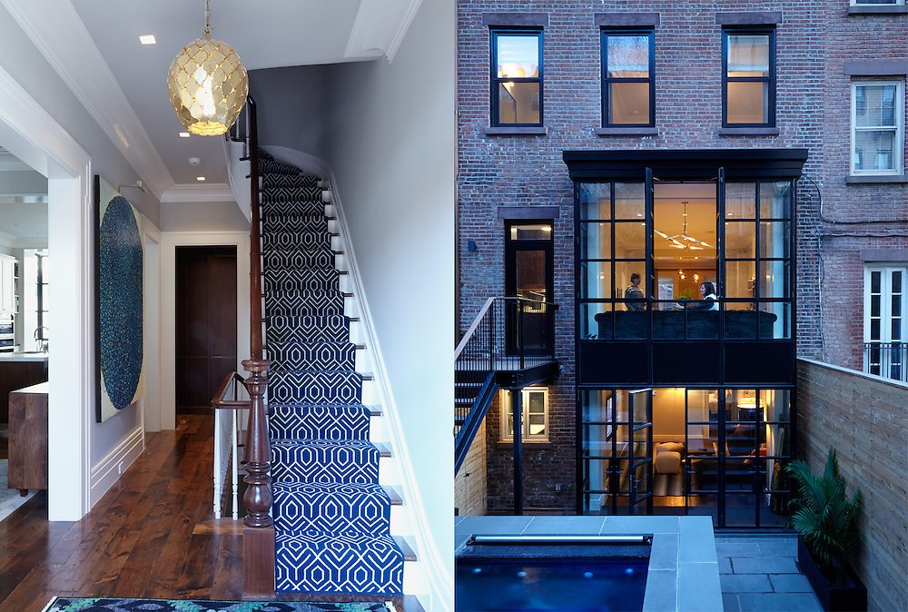 Brooklyn Heights Town House. Entry way stairs and backyard garden and hot tub. Architect: CWB Architects. Designer: CWB Architects